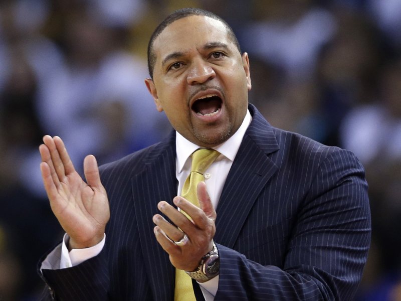 Golden State Warriors head coach Mark Jackson directs his team against the Minnesota Timberwolves during the first half of an NBA basketball game on Monday, April 14, 2014, in Oakland, Calif. (AP Photo/Marcio Jose Sanchez)