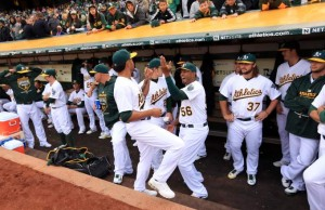 The A's 2015 experiment looked pretty good on Opening Day. (Kent Porter/Press Democrat)
