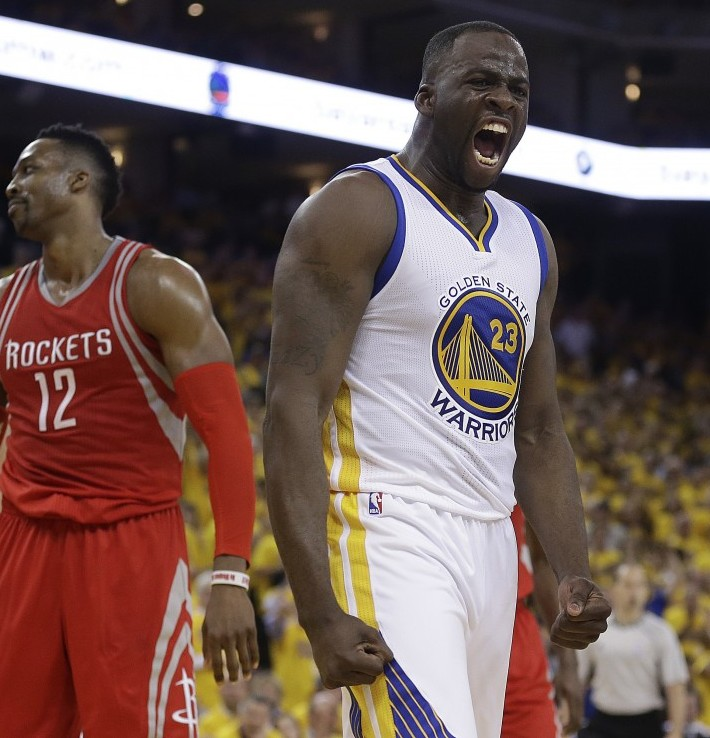 Draymond Green (right): workhorse teammate or illegal screen-fiend? Photo: Associated Press
