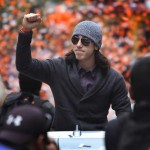 Tim Lincecum celebrates the Giants' 2012 World Series victory. Lincecum is an SF legend, but is he a Hall of Famer? Photo: Kent Porter / Press Democrat
