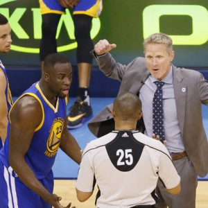 Draymond Green and Steve Kerr tell official Tony Brothers that it was all a terrible misunderstanding. Credit: Associated Press