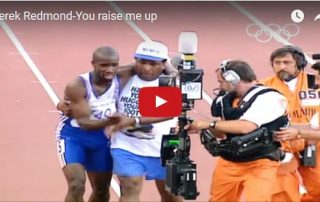 One of many videos of Jim Redmond (center) helping his son Derek reach the finish line during the 1992 Summer Olympics.